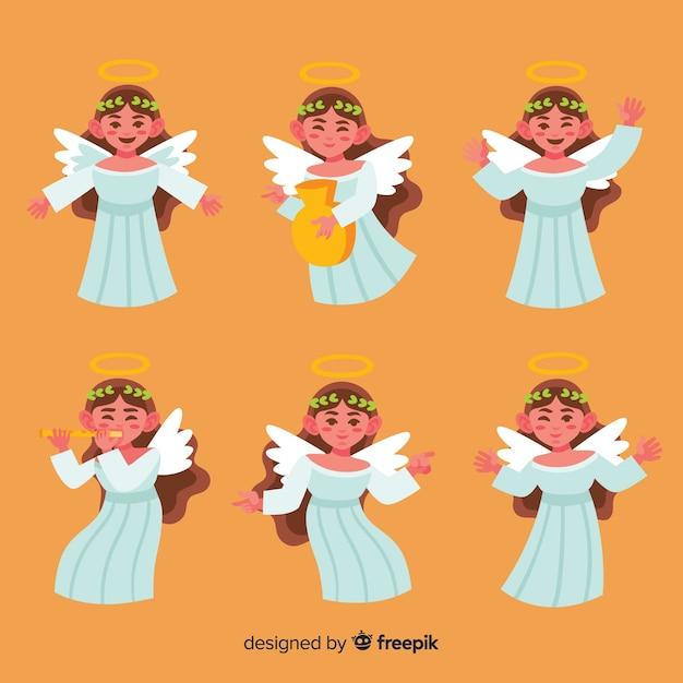 Imagenes De Angelitos Navidenos.Coleccion De Angelitos Navidenos Dibujados A Mano