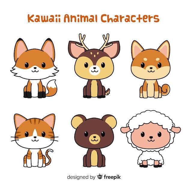 Colección animales adorables dibujados a mano vector gratuito