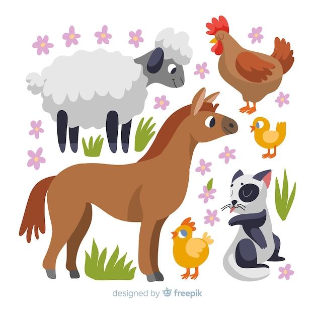 Colección de animales adorables de granja dibujado a mano vector gratuito