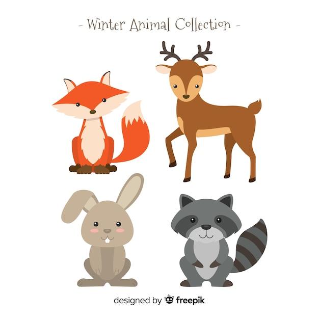 Colección animales de bosque de invierno vector gratuito