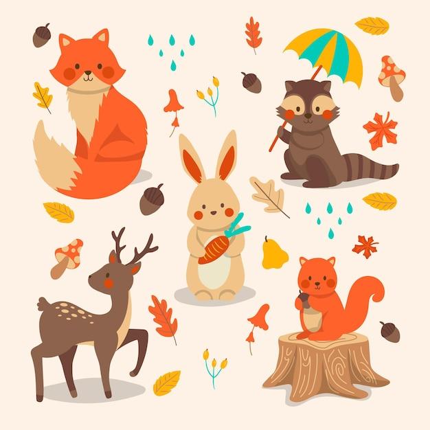 Colección de animales del bosque otoño dibujado a mano Vector Premium