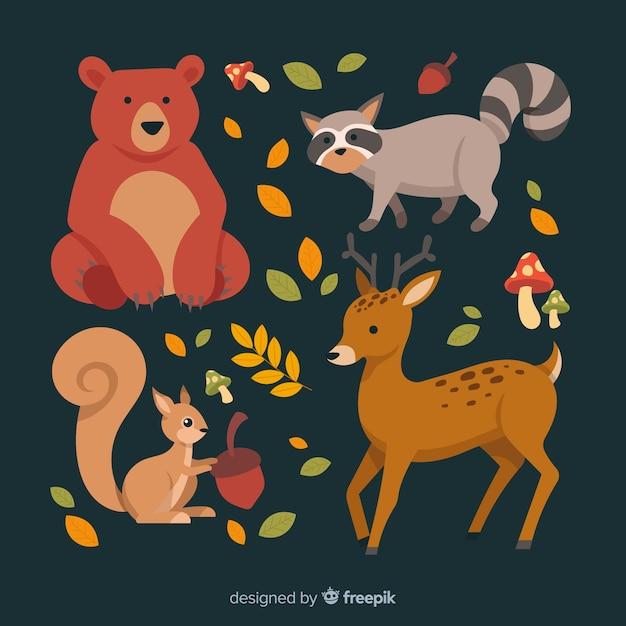 Colección de animales de bosque de otoño dibujados a mano vector gratuito