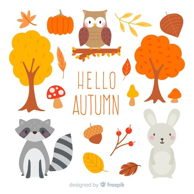 Colección de animales de bosque de otoño en diseño plano vector gratuito