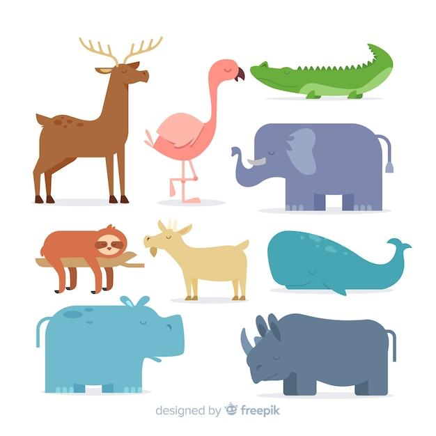 Colección de animales de dibujos animados en diseño plano vector gratuito