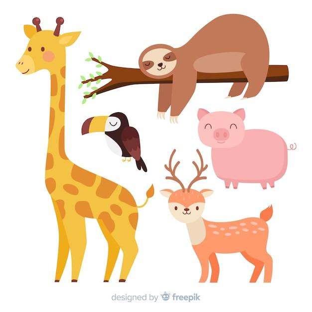 Colección de animales de dibujos animados lindo vector gratuito