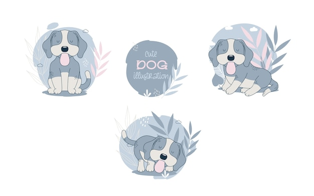 Colección de animales de dibujos animados de perros lindos. ilustración vectorial vector gratuito