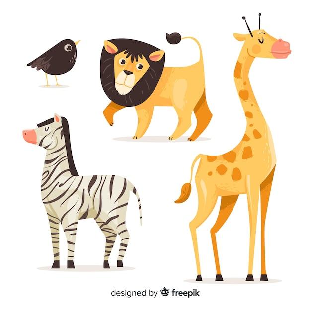 Colección de animales de dibujos animados sobre fondo blanco Vector Premium