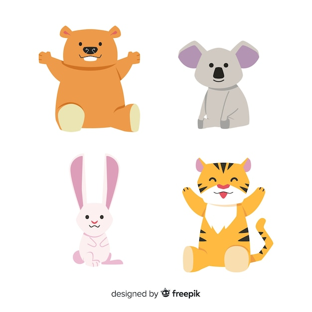 Colección de animales de dibujos animados vector gratuito
