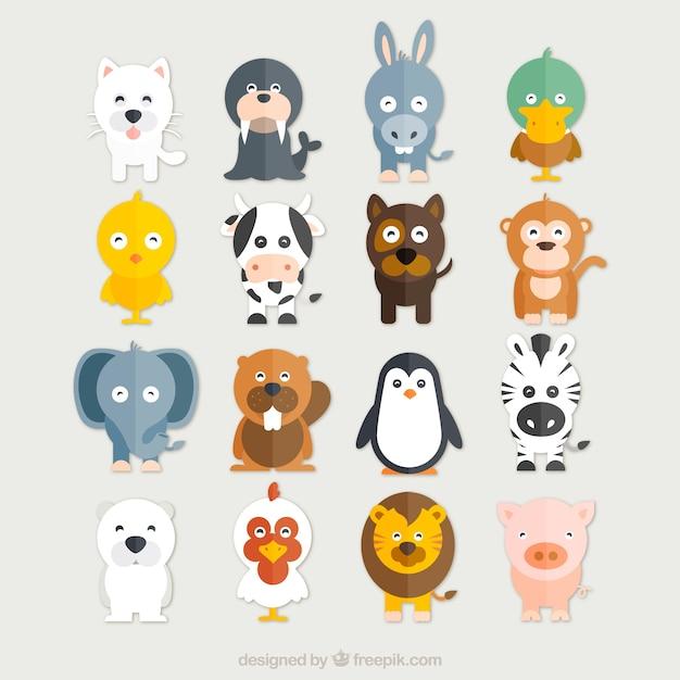 Colección de animales divertidos vector gratuito