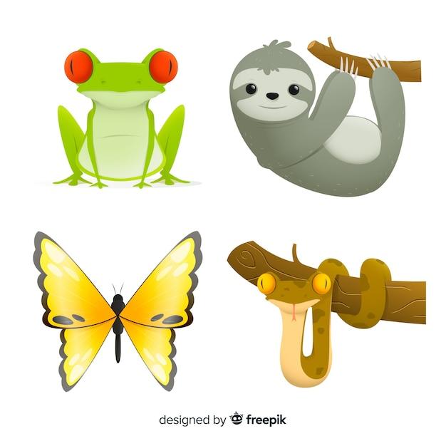 Colección animales exóticos estilo plano vector gratuito