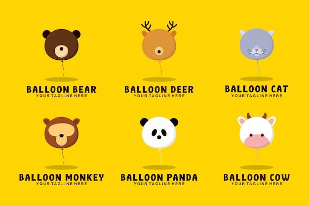 Colección de animales con globos con ilustración de logotipo de estilo plano Vector Premium