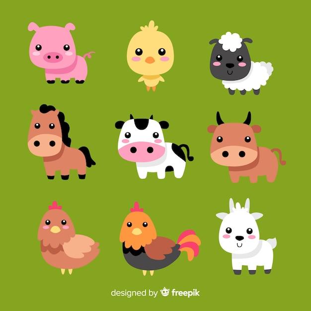 Colección animales de granja dibujados a mano vector gratuito