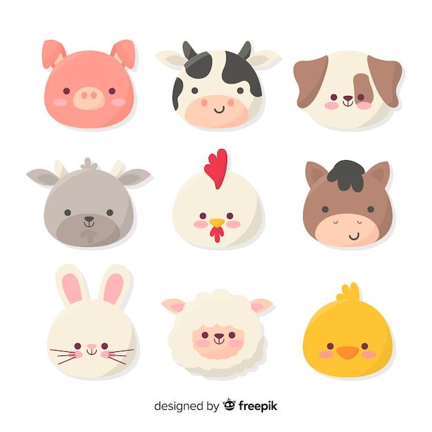 Colección de animales de granja dibujados a mano vector gratuito