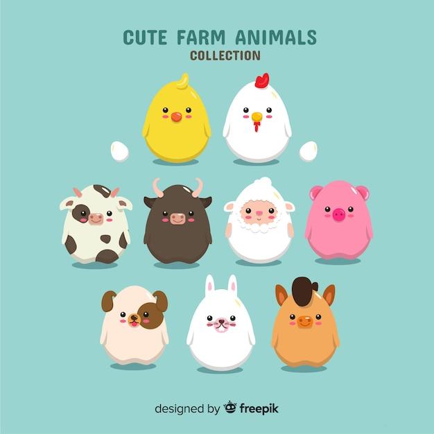 Colección de animales de granja en diseño plano vector gratuito