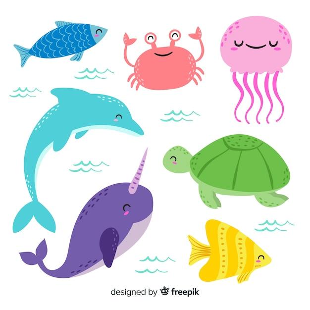 Colección animales marinos dibujados a mano vector gratuito