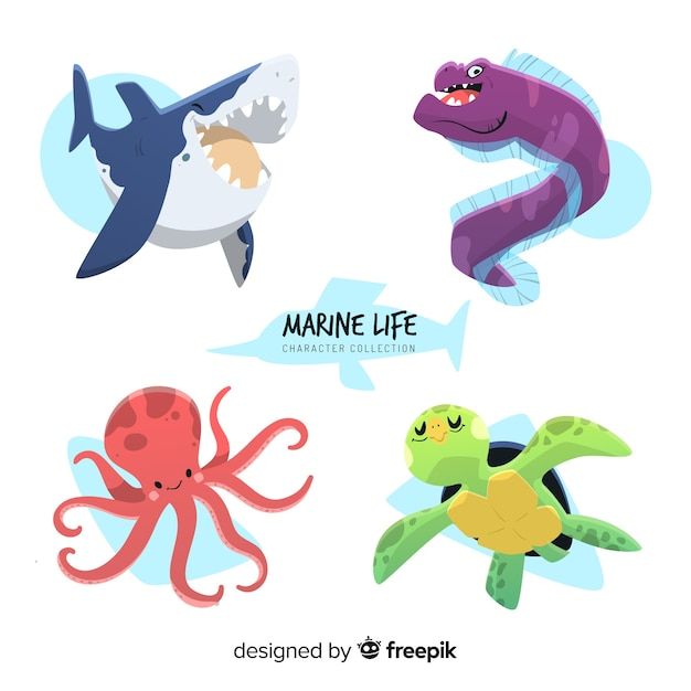 Colección animales marinos dibujados a mano Vector Premium