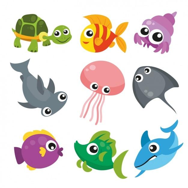 Colección de animales marinos vector gratuito