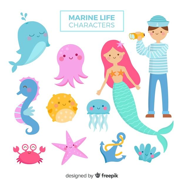 Colección de animales y personajes marinos vector gratuito