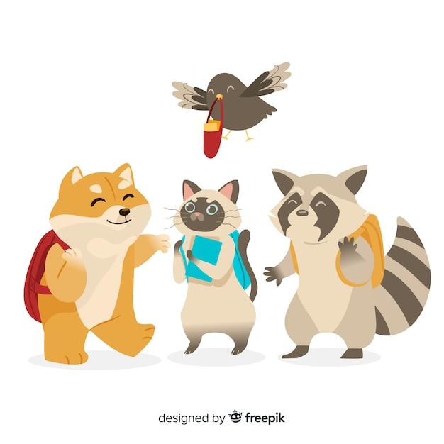 Colección de animales de regreso a la escuela vector gratuito