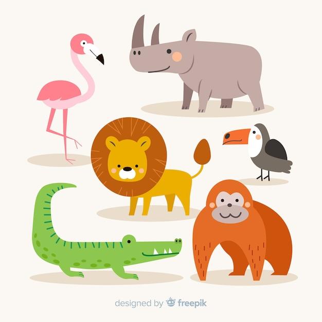 Colección de animales tropicales en diseño plano vector gratuito