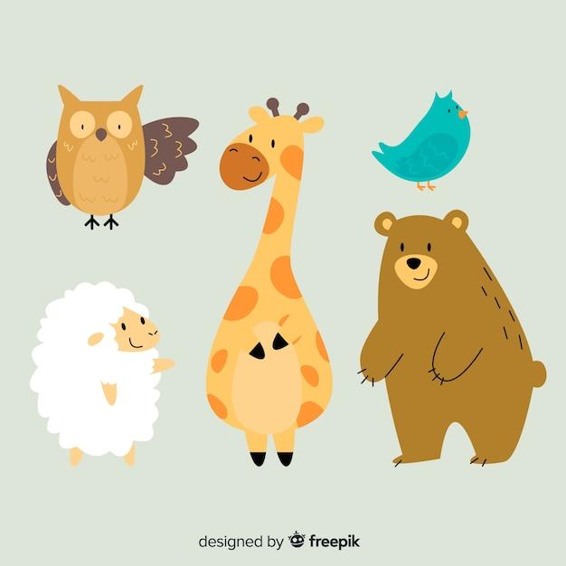 Colección de animales de vida silvestre de dibujos animados de ilustración vector gratuito