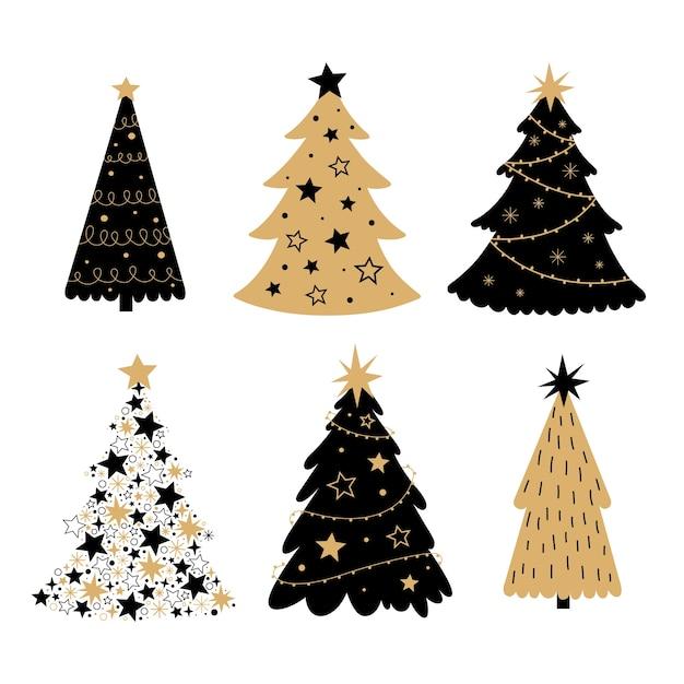 Colección de árboles de navidad dibujados a mano vector gratuito