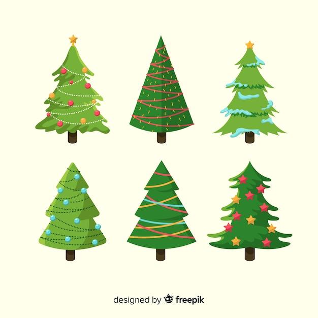 Colección de árboles de navidad de diseño plano vector gratuito