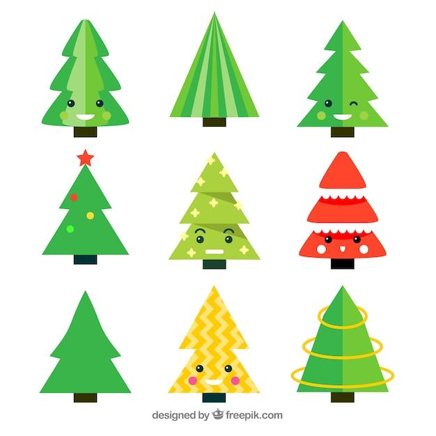 Colección De árboles De Navidad En Estilo De Dibujos Animados