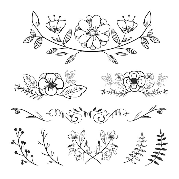 La colección del arreglo del ornamento de la flor fijó estilo dibujado mano con los laureles y las hojas. Vector Premium