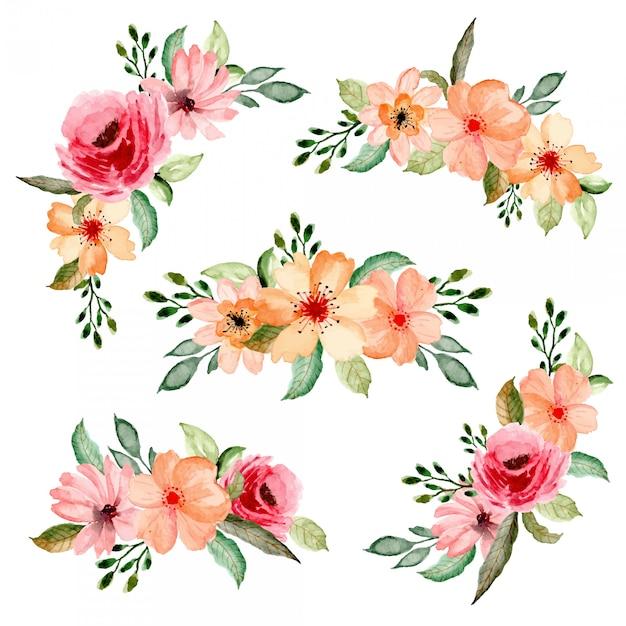 Colección de arreglos florales acuarela Vector Premium