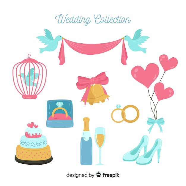 Colección de artículos de boda en diseño plano vector gratuito