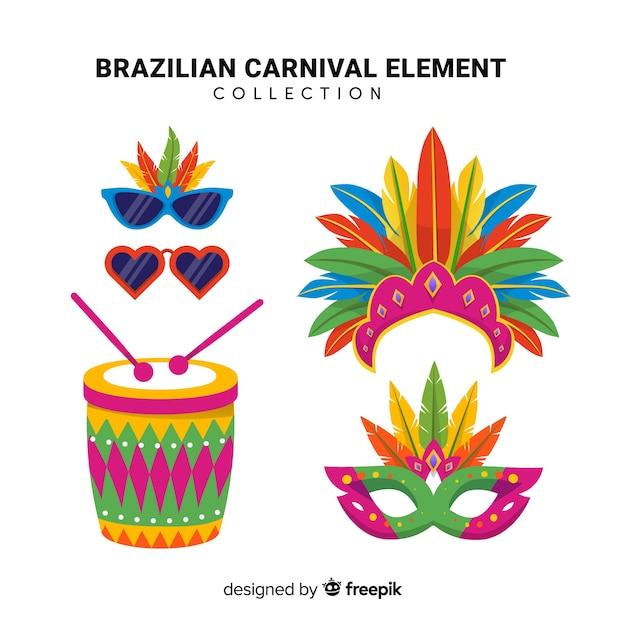 Colección de artículos del carnaval de brasil vector gratuito