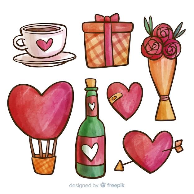 Colección de artículos del día de san valentín vector gratuito