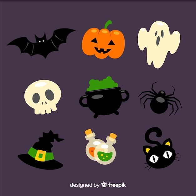 Colección de artículos de halloween en diseño plano vector gratuito