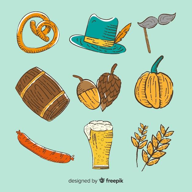 Colección de artículos del oktoberfest dibujados a mano vector gratuito