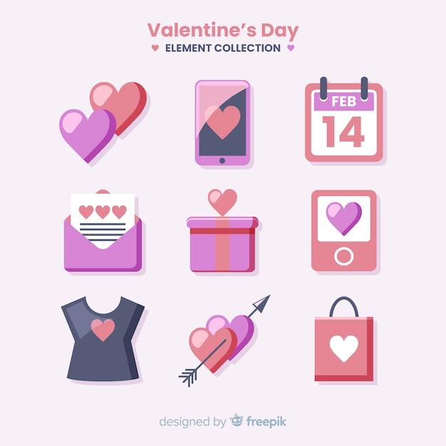 Colección de artículos de san valentín vector gratuito