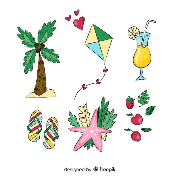 Colección de artículos de verano dibujados a mano vector gratuito