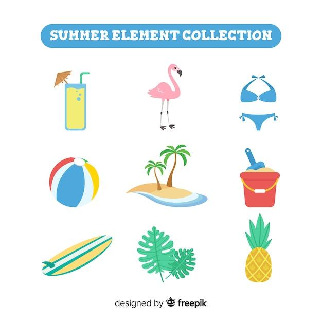 Colección de artículos de verano en diseño plano vector gratuito