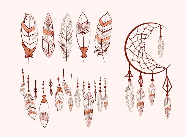Colección de atrapasueños con plumas Vector Premium