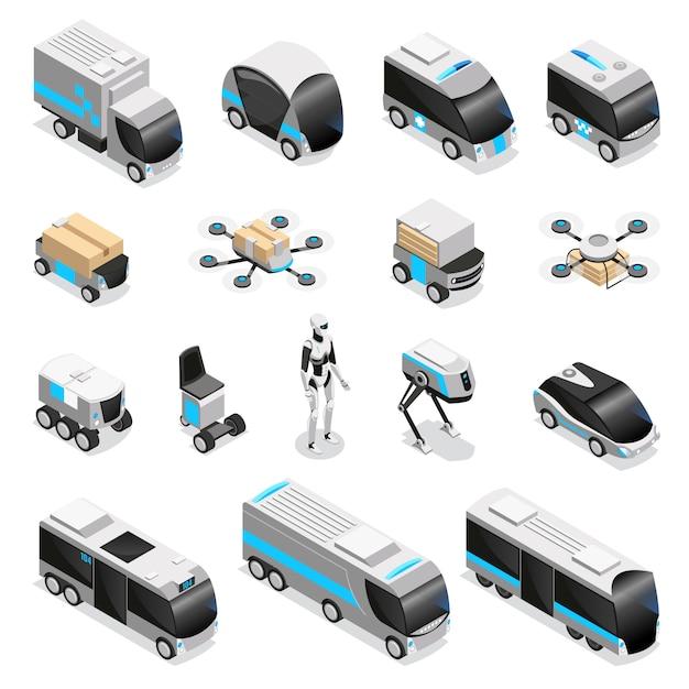 Colección automatizada de iconos isométricos de entrega de robots con lindos aviones no tripulados humanoides controlados por control remoto ilustración de vehículos no tripulados vector gratuito