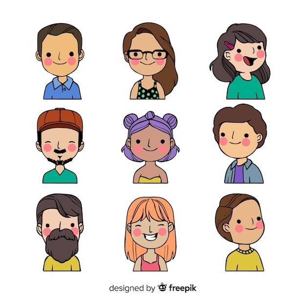 Colección de avatar de personas dibujadas a mano vector gratuito