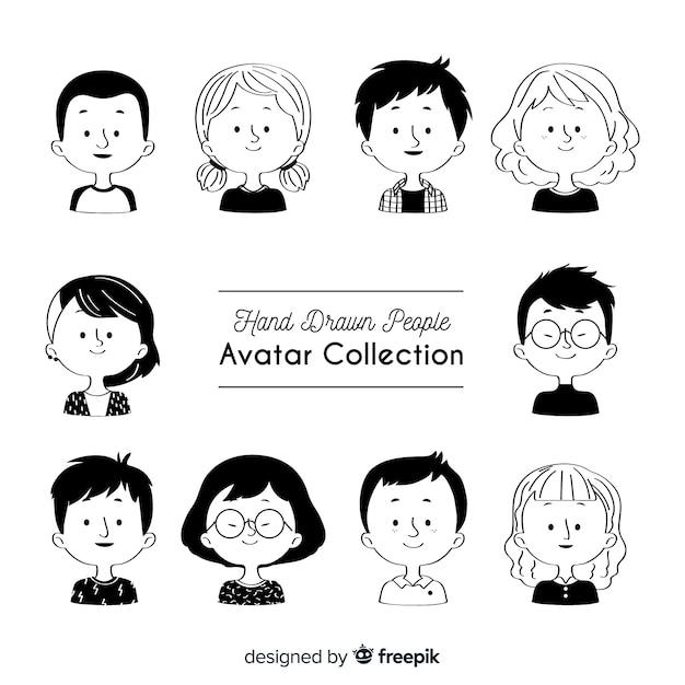 Colección avatares sin color dibujados a mano vector gratuito