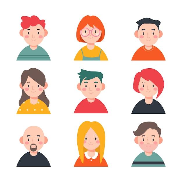 Colección de avatares ilustrados de personas vector gratuito