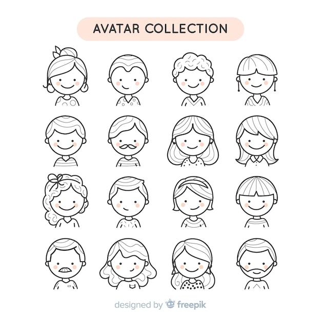 Colección avatares de personas sin color dibujados a mano vector gratuito