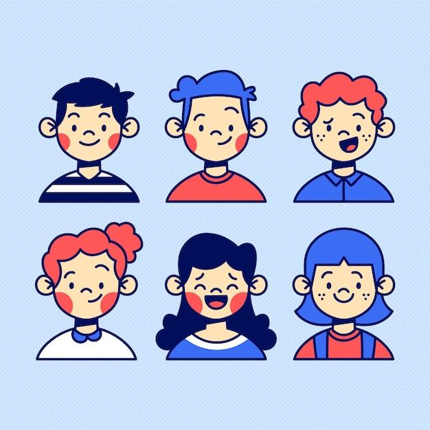 Colección de avatares de personas vector gratuito