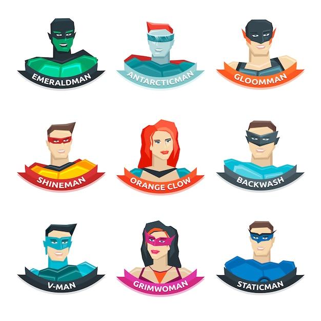 Colección de avatares de superhéroes vector gratuito