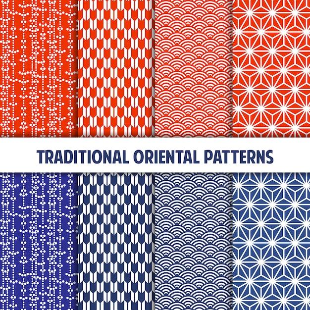 Colección azul y mandarina de patrones japoneses sin costura Vector Premium