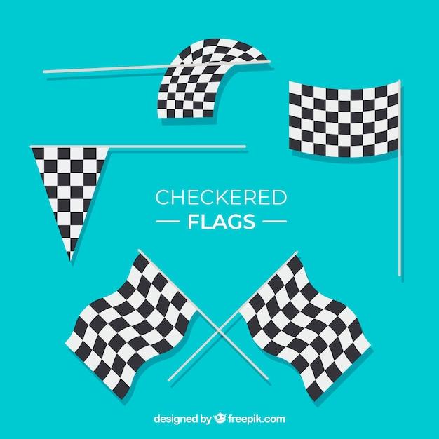 Colección de banderas a cuadros de carreras con diseño plano vector gratuito