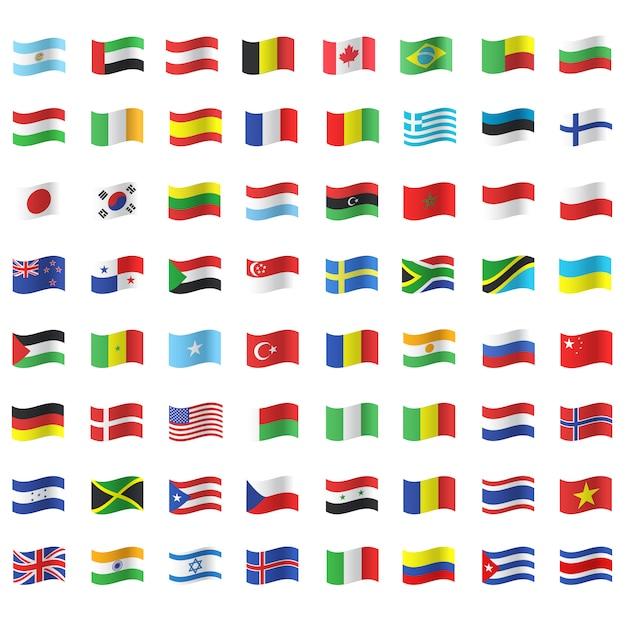 Colección de banderas ondeando vector gratuito