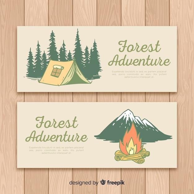 Colección banner camping dibujados a mano vector gratuito